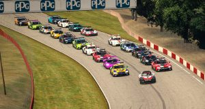 #7 Bruno Spengler, BMW IMSA Team Red BMW, #96 Robby Foley, Turner Motorsport BMW, start, pace car(MEDIA: EDITORIAL USE ONLY) (This image is from the iRacing computer game)