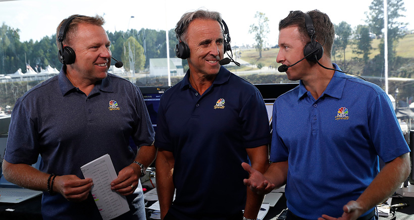 NBC IMSA broadcast team of Leigh Diffey, Calvin Fish, and AJ Allmendinger