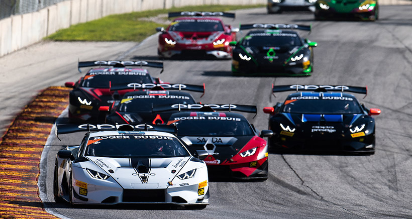 August 6-8, 2020. Lamborghini Super Trofeo, Road America, round 1 race: 16 Madison Snow, Bryan Sellers, Change Racing, Lamborghini Charlotte, Lamborghini Huracan Super Trofeo EVO leads the field at the start