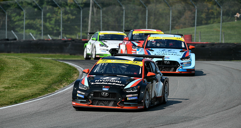 #21 Bryan Herta Autosport w/ Curb Agajanian Hyundai Veloster N TCR, TCR: Mark Wilkins, Harry Gottsacker, #98 Bryan Herta Autosport w/ Curb Agajanian Hyundai Veloster N TCR, TCR: Michael Lewis, Mason Filippi, #33 Bryan Herta Autosport w/ Curb Agajanian Hyundai Veloster N TCR, TCR: Gabby Chaves, Ryan Norman, #29 Bryan Herta Autosport w/ Curb Agajanian Hyundai Veloster N TCR, TCR: Parker Chase, Spencer Brockman
