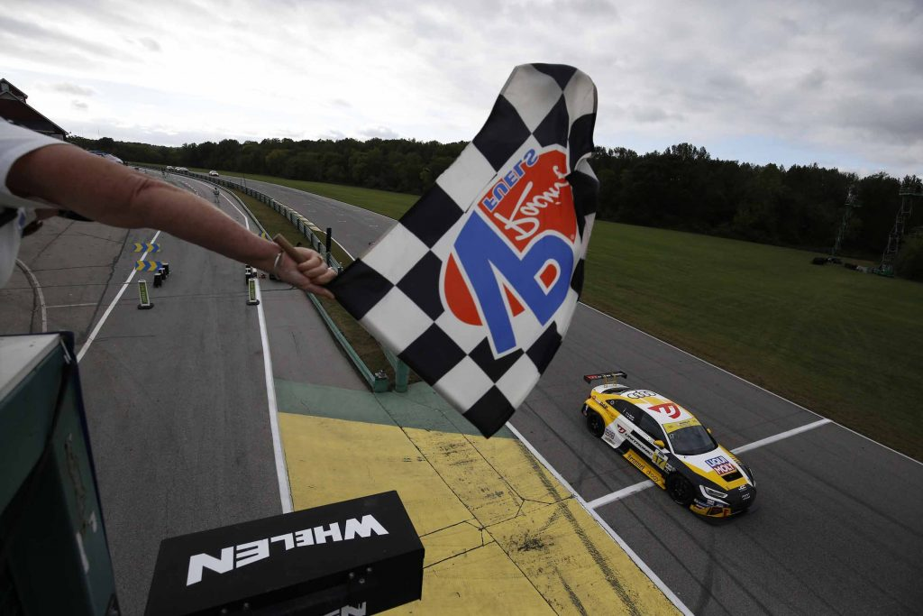 #17: Unitronic JDC-Miller MotorSports Audi RS3 LMS SEQ, TCR: Chris Miller, Mikey Taylor takes the checkered flag